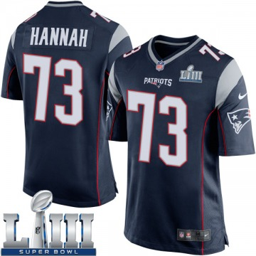 Youth Nike New England Patriots John Hannah Navy Blue Team Color Super Bowl LIII Jersey - Game