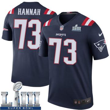 Youth Nike New England Patriots John Hannah Navy Color Rush Super Bowl LIII Jersey - Legend