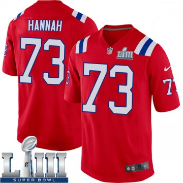Youth Nike New England Patriots John Hannah Red Alternate Super Bowl LIII Jersey - Game