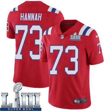 Youth Nike New England Patriots John Hannah Red Super Bowl LIII Vapor Untouchable Alternate Jersey - Limited