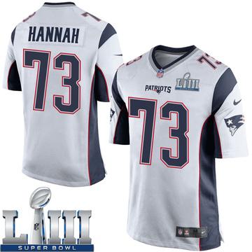 Youth Nike New England Patriots John Hannah White Super Bowl LIII Jersey - Game