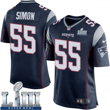 Youth Nike New England Patriots John Simon Navy Blue Team Color Super Bowl LIII Jersey - Game