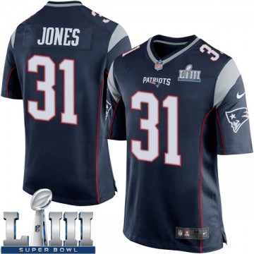 Youth Nike New England Patriots Jonathan Jones Navy Blue Team Color Super Bowl LIII Jersey - Game