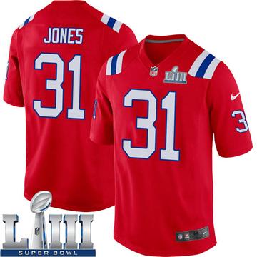 Youth Nike New England Patriots Jonathan Jones Red Alternate Super Bowl LIII Jersey - Game