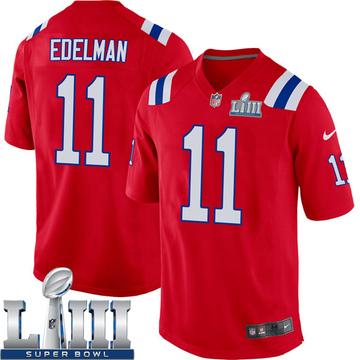 Youth Nike New England Patriots Julian Edelman Red Alternate Super Bowl LIII Jersey - Game