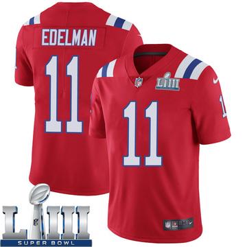 Youth Nike New England Patriots Julian Edelman Red Super Bowl LIII Vapor Untouchable Alternate Jersey - Limited