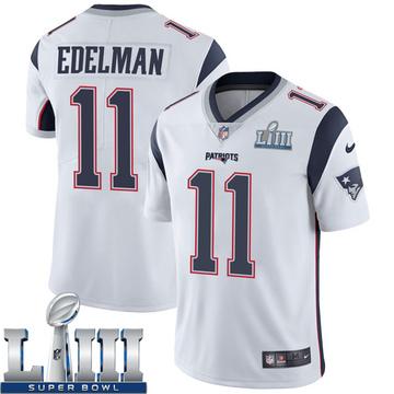 Youth Nike New England Patriots Julian Edelman White Super Bowl LIII Vapor Untouchable Jersey - Limited