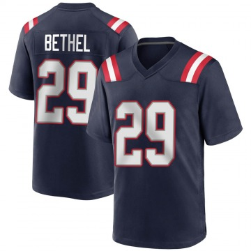 Youth Nike New England Patriots Justin Bethel Navy Blue Team Color Jersey - Game