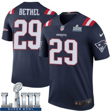 Youth Nike New England Patriots Justin Bethel Navy Color Rush Super Bowl LIII Jersey - Legend