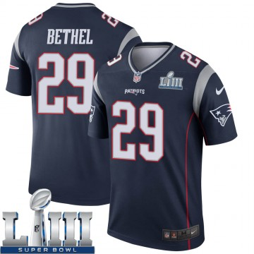 Youth Nike New England Patriots Justin Bethel Navy Super Bowl LIII Jersey - Legend