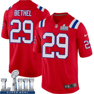 Youth Nike New England Patriots Justin Bethel Red Alternate Super Bowl LIII Jersey - Game