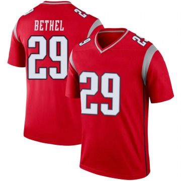 Youth Nike New England Patriots Justin Bethel Red Inverted Jersey - Legend