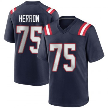 Youth Nike New England Patriots Justin Herron Navy Blue Team Color Jersey - Game