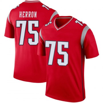 Youth Nike New England Patriots Justin Herron Red Inverted Jersey - Legend