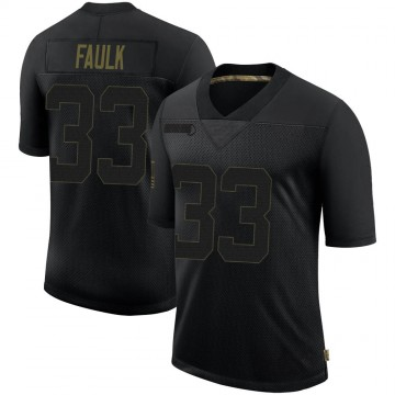 Youth Nike New England Patriots Kevin Faulk Black 2020 Salute To Service Jersey - Limited