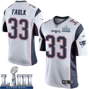 Youth Nike New England Patriots Kevin Faulk White Super Bowl LIII Jersey - Game