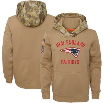 Youth Nike New England Patriots Khaki 2019 Salute to Service Therma Pullover Hoodie -