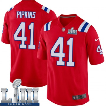 Youth Nike New England Patriots Lenzy Pipkins Red Alternate Super Bowl LIII Jersey - Game