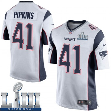 Youth Nike New England Patriots Lenzy Pipkins White Super Bowl LIII Jersey - Game