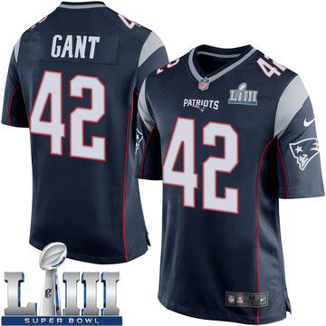 Youth Nike New England Patriots Malik Gant Navy Blue Team Color Super Bowl LIII Jersey - Game