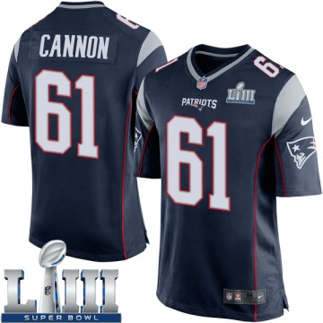 Youth Nike New England Patriots Marcus Cannon Navy Blue Team Color Super Bowl LIII Jersey - Game