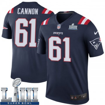 Youth Nike New England Patriots Marcus Cannon Navy Color Rush Super Bowl LIII Jersey - Legend