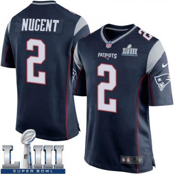 Youth Nike New England Patriots Mike Nugent Navy Blue Team Color Super Bowl LIII Jersey - Game