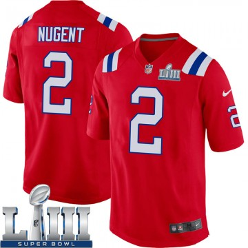 Youth Nike New England Patriots Mike Nugent Red Alternate Super Bowl LIII Jersey - Game