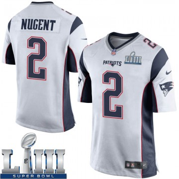 Youth Nike New England Patriots Mike Nugent White Super Bowl LIII Jersey - Game