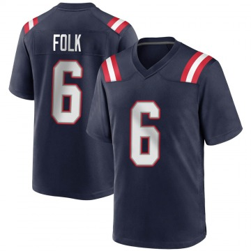 Youth Nike New England Patriots Nick Folk Navy Blue Team Color Jersey - Game