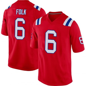 Youth Nike New England Patriots Nick Folk Red Alternate Jersey - Game