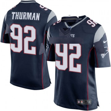 Youth Nike New England Patriots Nick Thurman Navy Blue Team Color Jersey - Game