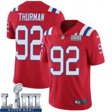 Youth Nike New England Patriots Nick Thurman Red Super Bowl LIII Vapor Untouchable Alternate Jersey - Limited