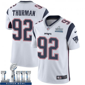 Youth Nike New England Patriots Nick Thurman White Super Bowl LIII Vapor Untouchable Jersey - Limited