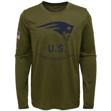 Youth Nike New England Patriots Olive 2018 Salute to Service Performance Long Sleeve T-Shirt - Legend