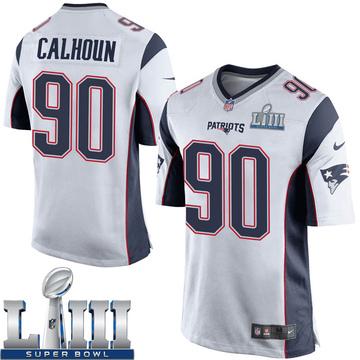 Youth Nike New England Patriots Shilique Calhoun White Super Bowl LIII Jersey - Game