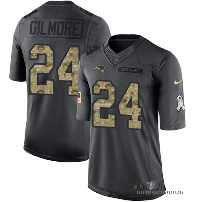 pretty nice 498b3 de1cf Youth Nike New England Patriots Stephon Gilmore Black 2016 Salute to  Service Jersey - Limited