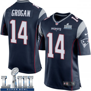 Youth Nike New England Patriots Steve Grogan Navy Blue Team Color Super Bowl LIII Jersey - Game