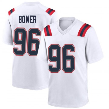 Youth Nike New England Patriots Tashawn Bower White Jersey - Game