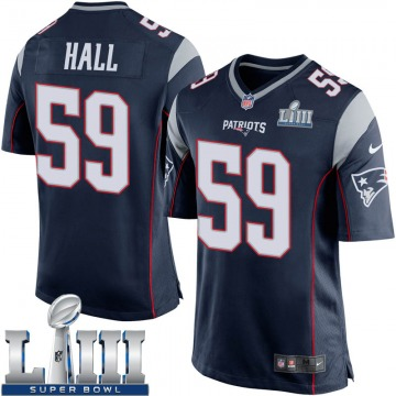 Youth Nike New England Patriots Terez Hall Navy Blue Team Color Super Bowl LIII Jersey - Game