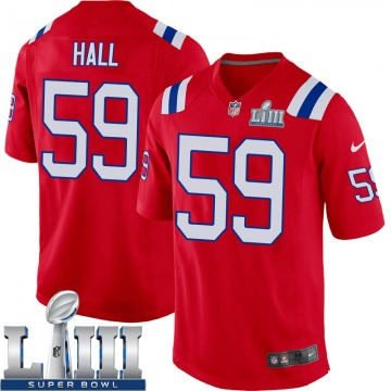 Youth Nike New England Patriots Terez Hall Red Alternate Super Bowl LIII Jersey - Game
