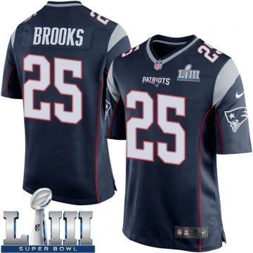 Youth Nike New England Patriots Terrence Brooks Navy Blue Team Color Super Bowl LIII Jersey - Game