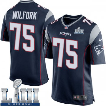 Youth Nike New England Patriots Vince Wilfork Navy Blue Team Color Super Bowl LIII Jersey - Game